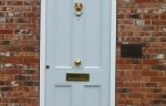 Duck egg blue timber Accoya door