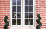 White uPVC patio doors that look like timber
