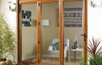 Wood effect uPVC bi-folding glass doors
