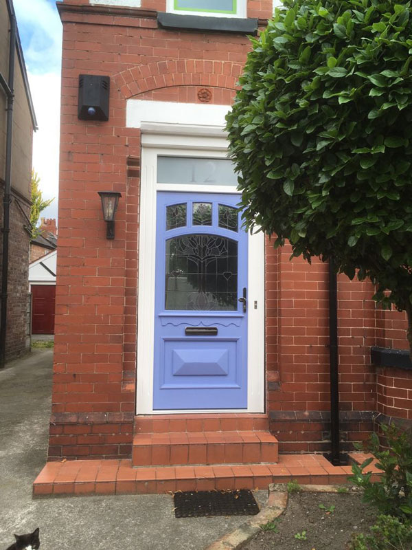 Accoya blue timber door Manchester