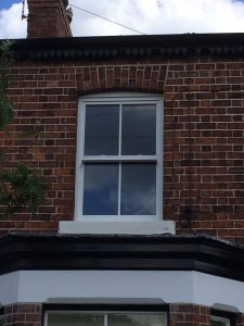 Accoya wood white timber sliding sash window