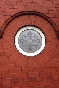 Accoya wood circular window with leaded light