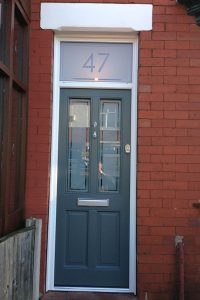 Blue Accoya wood timber door
