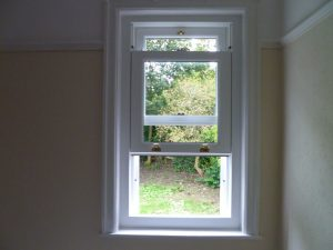 Timber sliding sash window interior