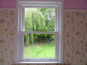 Interior view of timber sliding sash window