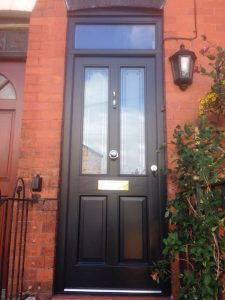 Black timber Accoya wood front door