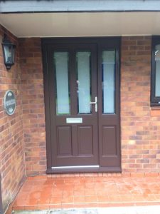 Brown Accoya wood timber front door