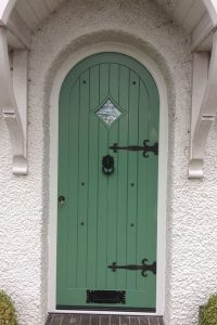 Green Accoya wood entrance door