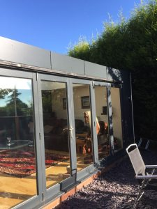Hardwood black bifold doors