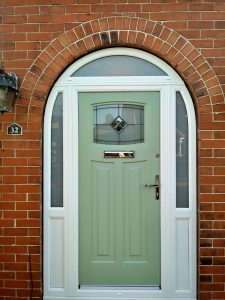Newark rock door in white uPVC frame