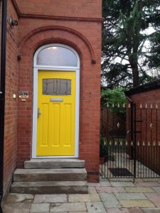 Yellow Accoya wood timber entrance door