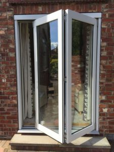 Accoya bifold doors with two panels