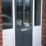 Accoya wood grey front door with side panels