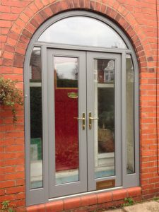 Accoya grey timber front door
