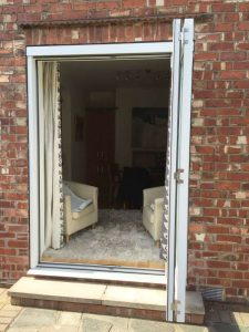 Accoya white bifold doors
