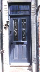 Blue composite entrance door