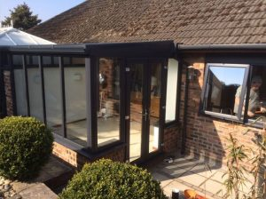 Grey lean-to conservatory