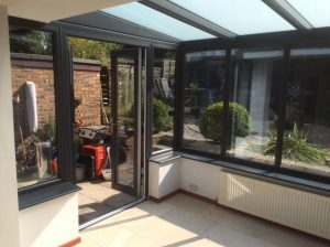 Grey lean-to conservatory interior