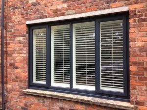 Grey-white Accoya wood window