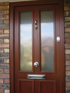 Hardwood door with heritage door lock