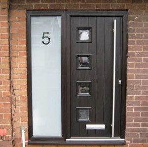 Modern black composite door with sidelight
