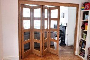 Oak internal bi-folding door