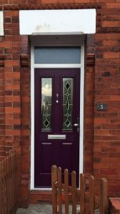Purple composite entrance door
