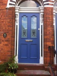 Blue entrance timber door