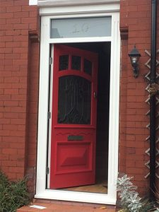 Accoya red entrance door