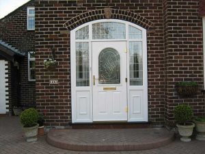 White composite door with glazed sidelights