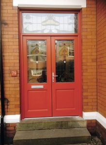 Red timber double doors