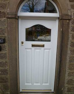 Accoya white entrance door