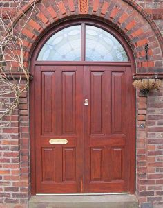 Timber arched double entrance door