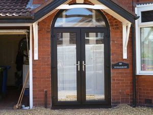 Black uPVC arched doors