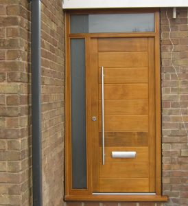 Solid oak timber entrance door