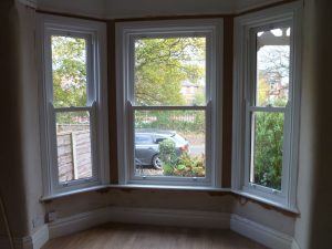 Interior view of bay tilt and timber sliding sash windows