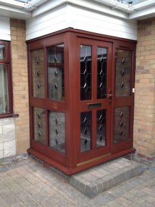 Timber front porch with bevelled glass