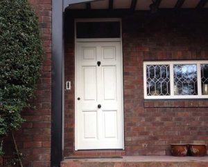 White timber entrance door