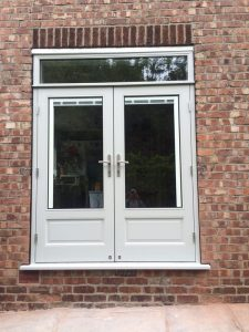 Grey timber French doors