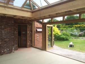 timber orangery interior construction