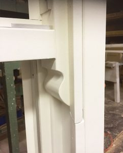 White sliding sash window close up