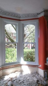 Interior view of bay timber sliding sash windows