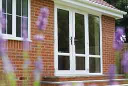 uPVC double patio doors in white