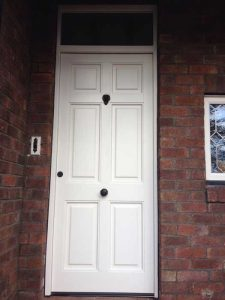 White Accoya wood entrance door