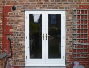 White timber French doors