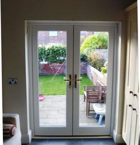 White timber patio door