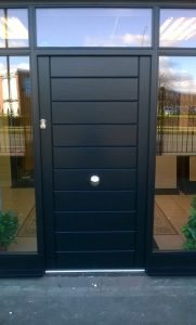 Accoya wood black graphite entrance door