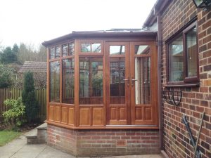 Hardwood timber conservatory installation