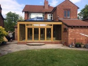 The outside view of an Accoya wood orangery