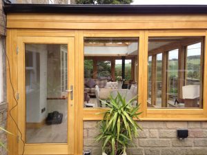 Oak effect Accoya wood conservatory door